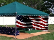 American Flag Backdrop Setup
