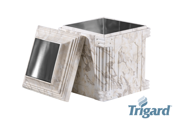 Chesapeake Burial Vault Company, Inc. - Burial Vaults - Aegean Elite White Marble Stainless Steel Urn Vault